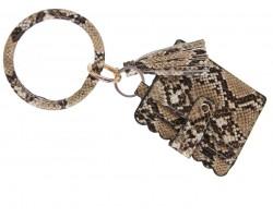 Brown Snakeskin Keychain Wallet Ring Bracelet