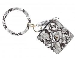 White Snakeskin Keychain Wallet Ring Bracelet