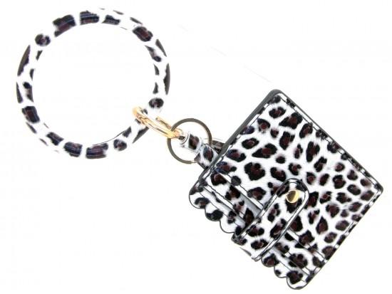 White Leopard Keychain Wallet Ring Bracelet