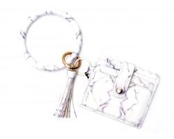 White Marble Print Keychain Wallet Ring Bracelet