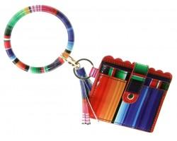 Multi Serape Design Keychain Wallet Ring Bracele