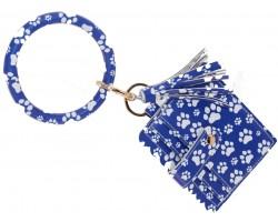 Blue White Paw Print Keychain Wallet Ring Bracelet