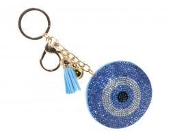 Light Blue Crystal Evil Eye Puffy Keychain