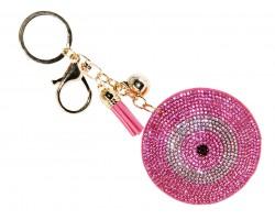 Pink Crystal Evil Eye Puffy Keychain