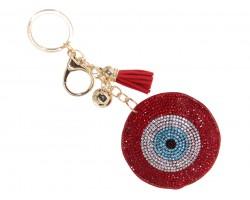 Red Crystal Evil Eye Puffy Keychain