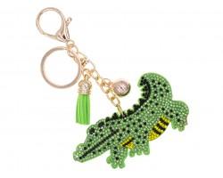 Green Crystal Alligator Tassel Puff Keychain