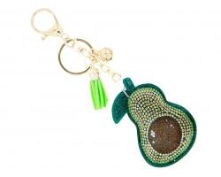 Green Crystal Avocado Tassel Key Chain