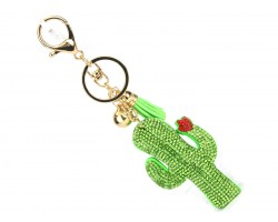 Green Crystal Cactus & Flower Key Chain