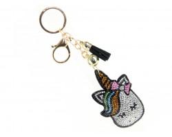 Multi Crystal Unicorn Tassel Puff Keychain