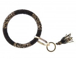 Black Gold Seed Bead Bangle Tassel Keychain