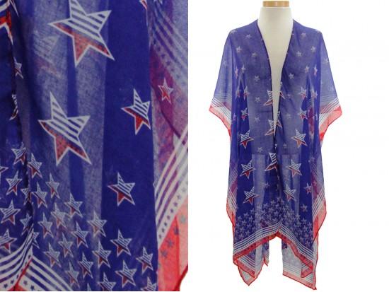 USA Stars Stripes Theme Blue Kimono