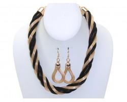Black Gold Mesh Twist Necklace Set