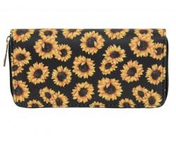 Black Yellow Sunflower Zipper Wallet