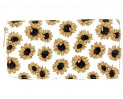 White Yellow Sunflower Zipper Wallet