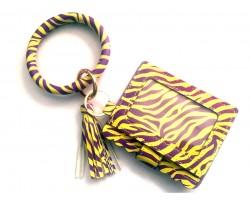 Purple Yellow Tiger Keychain Wallet Ring Bracelet