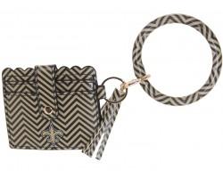 Black Gold Chevron Fleur Keychain Wallet Bangle