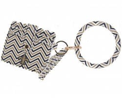 Black Gold White Chevron Fleur Keychain Wallet Bangle