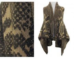 Brown Snakeskin Pattern Sleeveless Cardigan