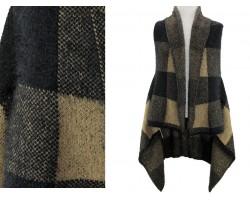 Brown Plaid Pattern Sleeveless Cardigan