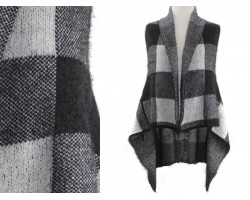 Gray Plaid Pattern Sleeveless Cardigan