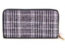 Black Weave Pattern Zipper Wallet