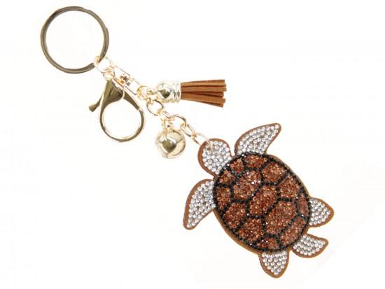 Sea Turtle Crystal Puffy Tassel Key Chain