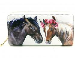 White Flower Horses Zipper Wallet