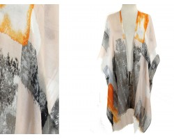 Orange Abstract Paint Pattern Poncho Kimono