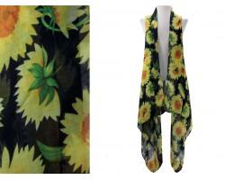 Black Sunflower Sleeveless Long Tail Vest