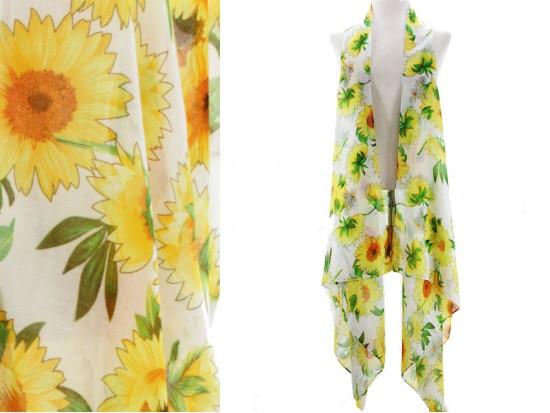 White Sunflower Sleeveless Long Tail Vest