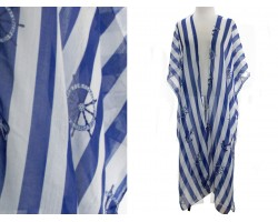 Blue Strip Nautical Theme Long Kimono