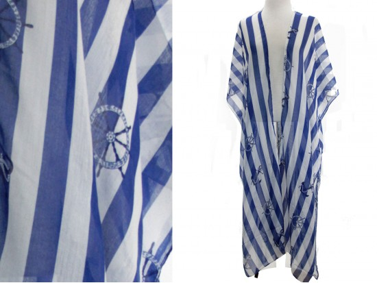Blue Strip Nautical Theme Long Kimono