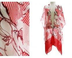 Red Floral Stripe Print Kimono