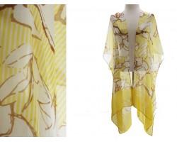 Yellow Floral Stripe Print Kimono