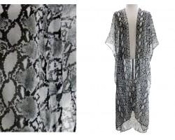 Gray Snakeskin Print Long Kimono