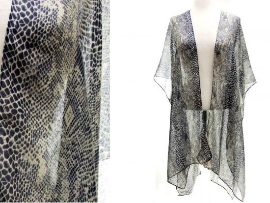 Gray Snakeskin Pattern Kimono