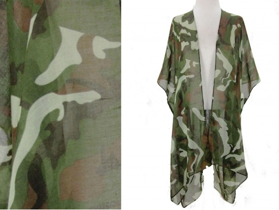 Green Camo Pattern Kimono