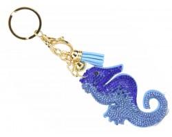 Blue Crystal Seahorse Key Chain