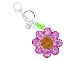 Pink Crystal Daisy Flower Key Chain