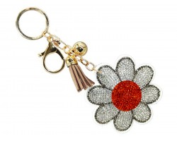 Red White Crystal Daisy Flower Key Chain