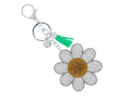 White Crystal Daisy Flower Key Chain