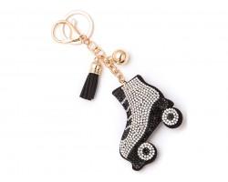 Black Crystal Roller Skate Puffy Key Chain