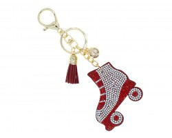 Red Crystal Roller Skate Puffy Key Chain
