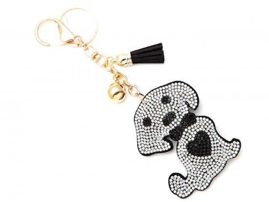 White Dog Love Heart Puffy Key Chain