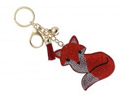 Red Crystal Fox Puffy Key Chain