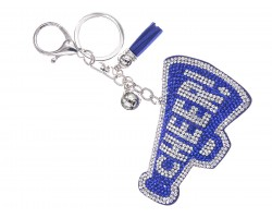 Blue Crystal Cheer Megaphone Puffy Key Chain