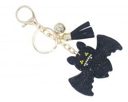 Black Crystal Bat Puffy Key Chain