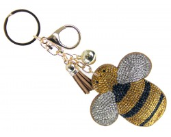 Yellow Crystal Bee Puffy Key Chain