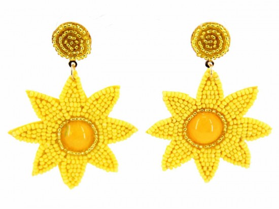 Yellow Seed Bead Sun Dangle Post Earrings