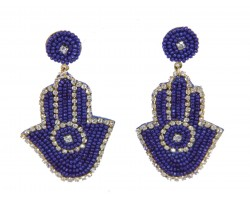 Blue Seed Bead Hand Dangle Post Earrings